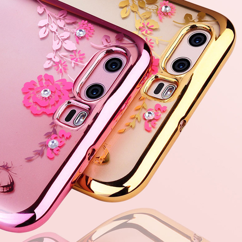 Bling Diamond Clear Case for Huawei Honor 9 Soft Plating Bumper Tpu on Honor 9 Silicone Cover Coque Fundas Capa with Flower