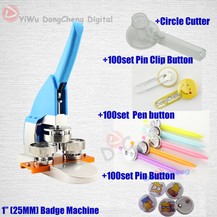 (DCMA-005) 125MM Badge Making Machine + Circle Cutter+pin clip button+pen button+pin button 25MMbadge Package badge machine suppliers 1 1 4 32mm badge machine with 1000set pin buttons circle cutter button making machine pack