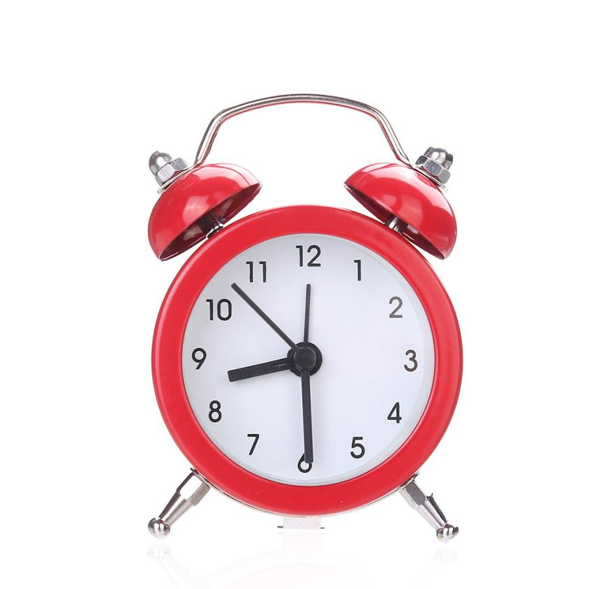 Alarm Clock Twin Bell Silent Despertador Clock Modern Design Alloy Stainless Metal Clocks 17DEC4