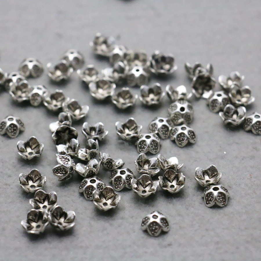 10PCS Fittings for Accessory components Findings separate beads Alloy Flowers for Necklace Bracelet Jewelry Making Design DIY
