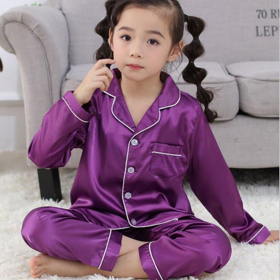 3-15 Years Children Girls Boys Pajamas Set Silk Fabric Pajama 2019 Spring Kids Home Clothes Nightwear Sleepwear Girl Clothes Set