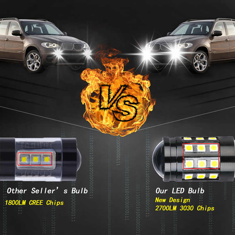 Katur 2x 9006 HB4 LED Car Fog Bulbs Powerful H11 9005 HB3 8W 2700Lm 3030 27 SMD Driving Running Light LED Lamp Extremely Bright