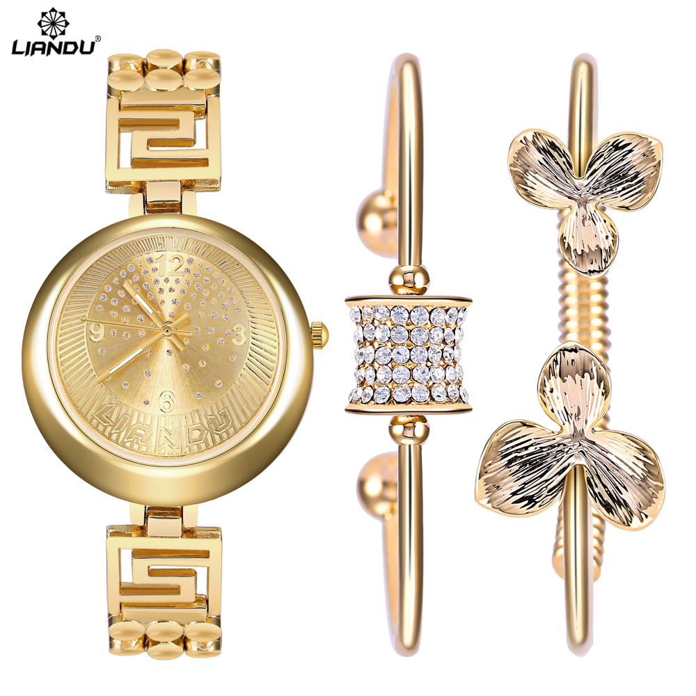 LIANDU Top Brand Quartz Women Watches & Jewelry Fashion Diamond Watch Gold Dress Wristwatch Feminino