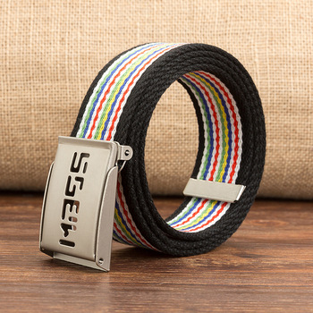 Unisex Casual Solid Color colorful Webbing Canvas Waist Belt letter Automatic Buckle Waistband Military Equipment Army Belt