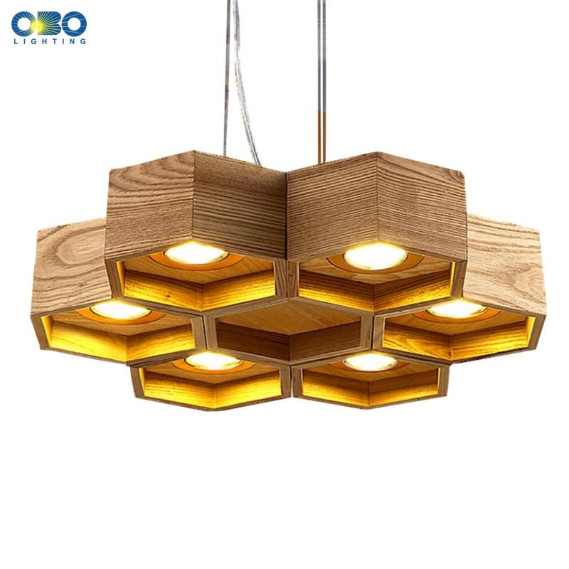 De bois En Nid D'abeille LED Moderne Pendentif Lampe Intérieur Salle À Manger Foyer Accueil Ornement Pendentif Lumière 110-240 V Livraison Gratuite