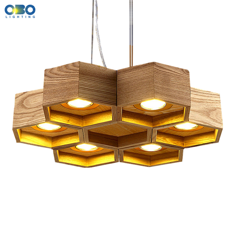 Wood Lighting Fixtures: Wood Honeycomb LED Modern Pendant Lamp Indoor Dining Room