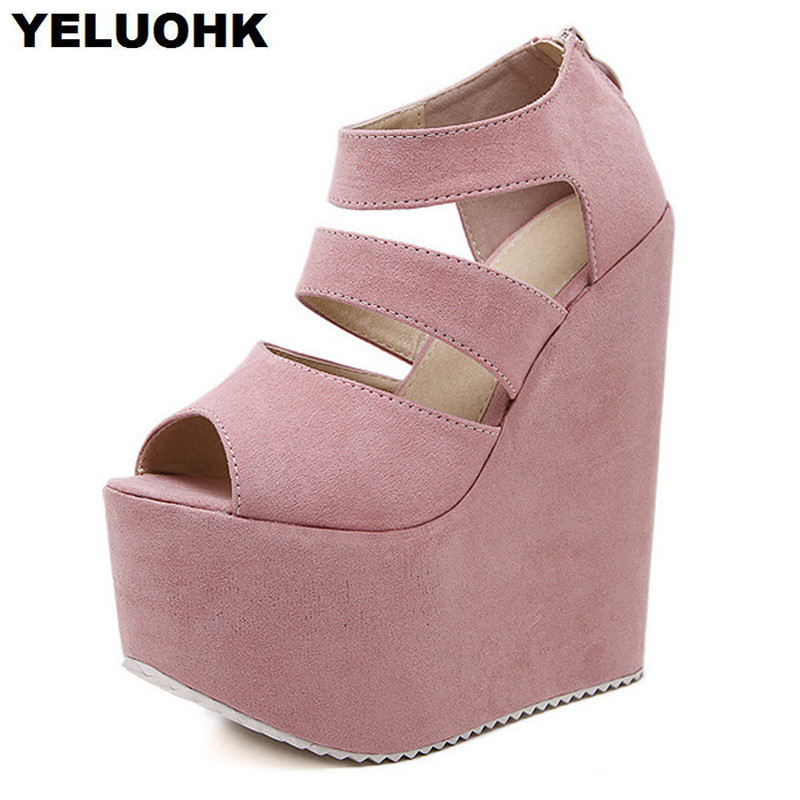 где купить 2017 New Wedges Shoes For Women High Heels Womens Sandals Platform Shoes Summer Pumps High Heel Open Toes по лучшей цене