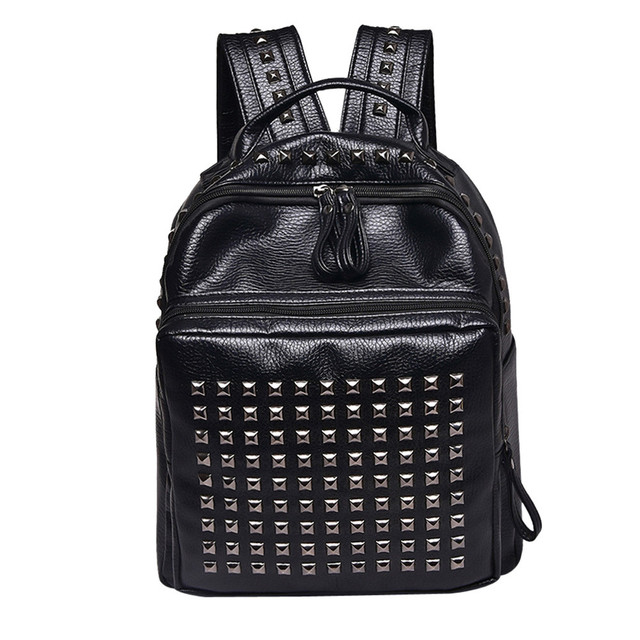 8e68c541ccd US $6.87 33% OFF|Backpack Women Girl Rivet Leather School Bag Travel  Backpack Satchel Women Shoulder Rucksack #Zer-in Backpacks from Luggage &  Bags on ...