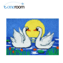 ZD238 The Two Swans Hook Rug Kit DIY Unfinished Crocheting Yarn Mat Latch Hook Rug Kit Floor(China)