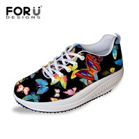FORUDESIGNS Black Pretty Butterfly Swing Dance Shoes For Women Casual Ladies Wedge Rocking Walking Shoes Europe