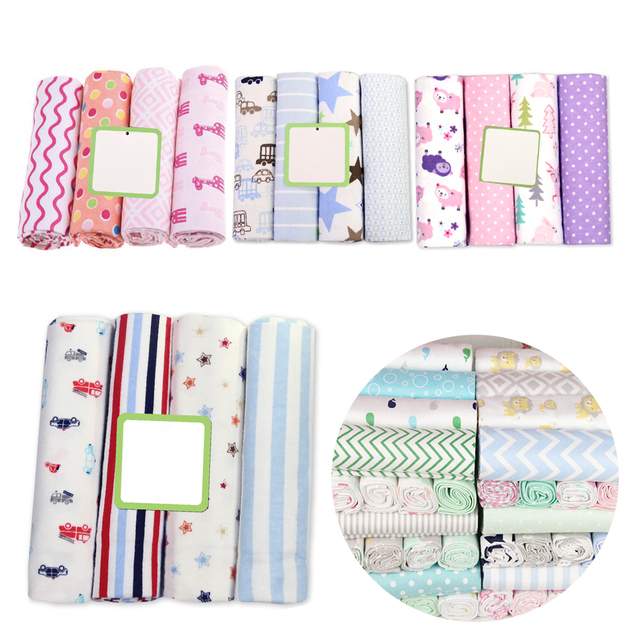 1c7f1495c9da 4 Pcs Lot Baby Blankets Newborn 100% Cotton Flannel Receiving Muslin  Diapers Baby Swaddle for Photography Newborn Blankets Wrap