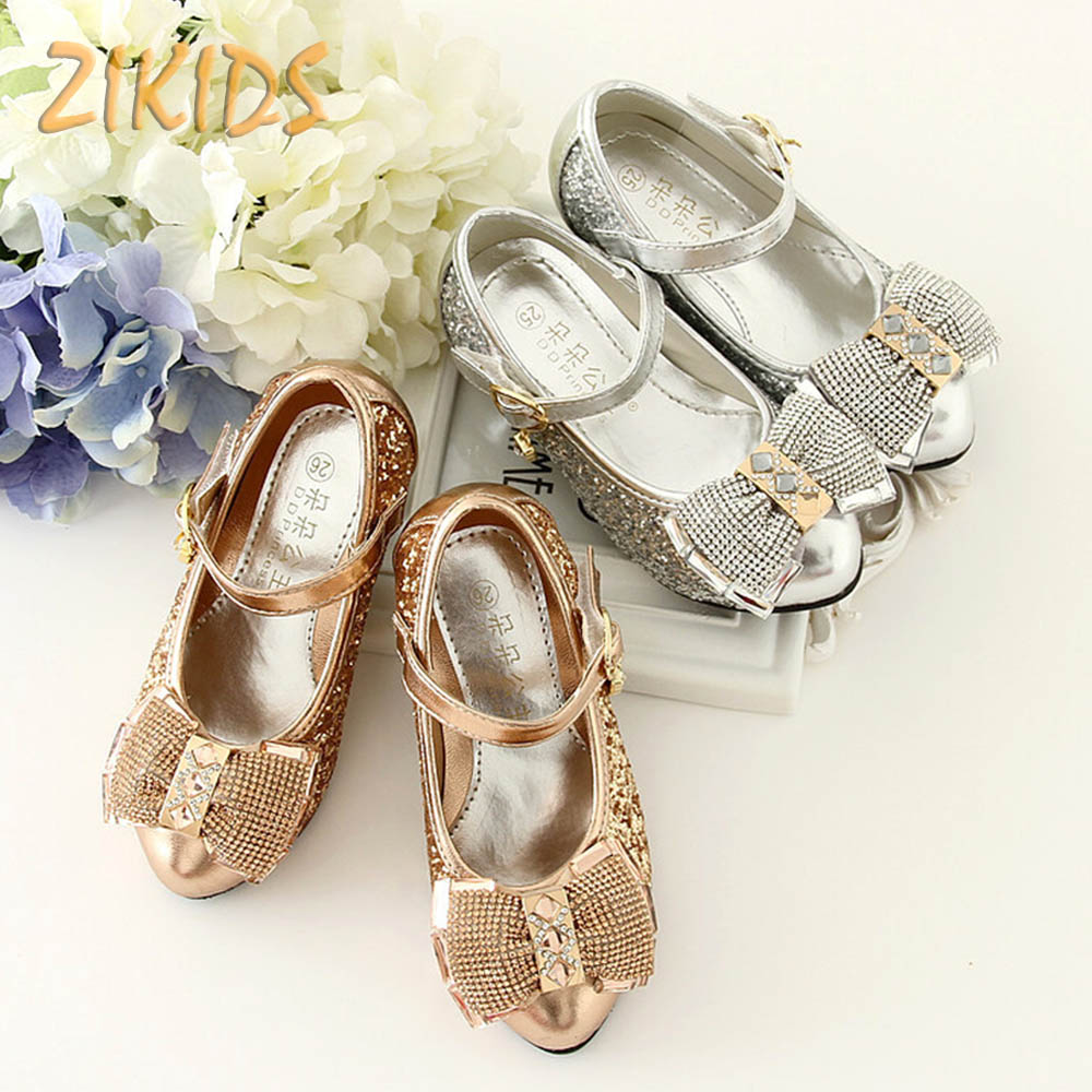 Fantasy Gold Beaded Decoration S High Heels Bronzing Princess Flower Shoes For Wedding Ankle Wraps Dance Kids Hot In Leather From
