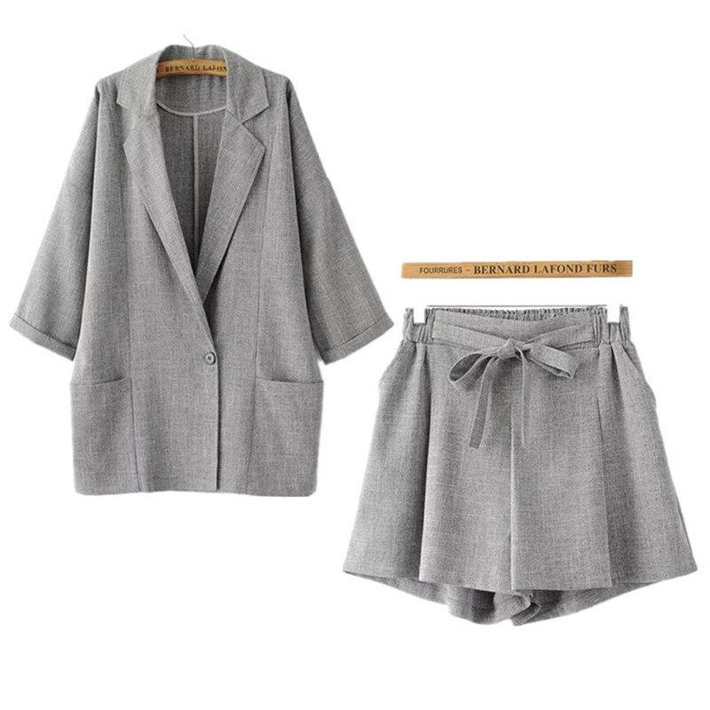2018 Autumn Korea Japan Women Lapel Long Sleeve One Button Blazer + Belt Wide Leg Shorts Suits OL Pants Sets Female Blazer Suits