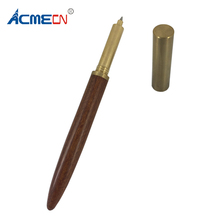 ACMECN 58g Heavy Wood Roller Pen Solid Brass Handmade Gel ink Pen Vintage 0.5mm Writing Point with Leather Case for Men's Gifts цены онлайн