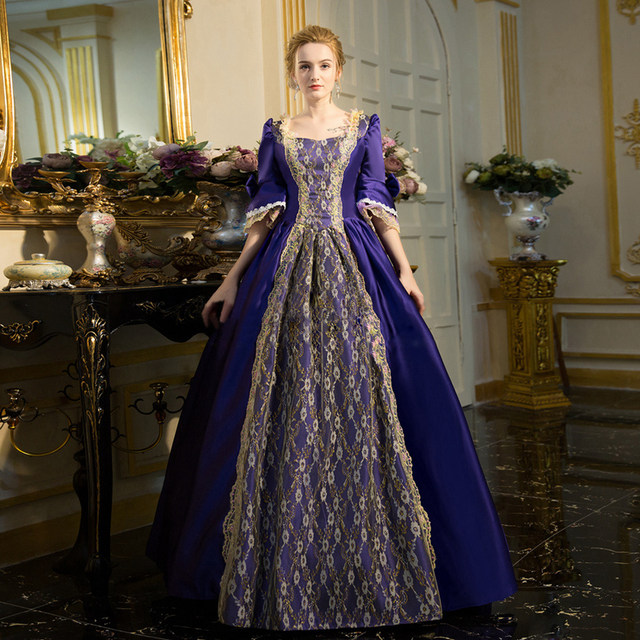 Womens Medieval Renaissance Rococo Dresses Gothic Fairy Princess Brocade Ball Gown Period Dress Marie Antoinette Clothing