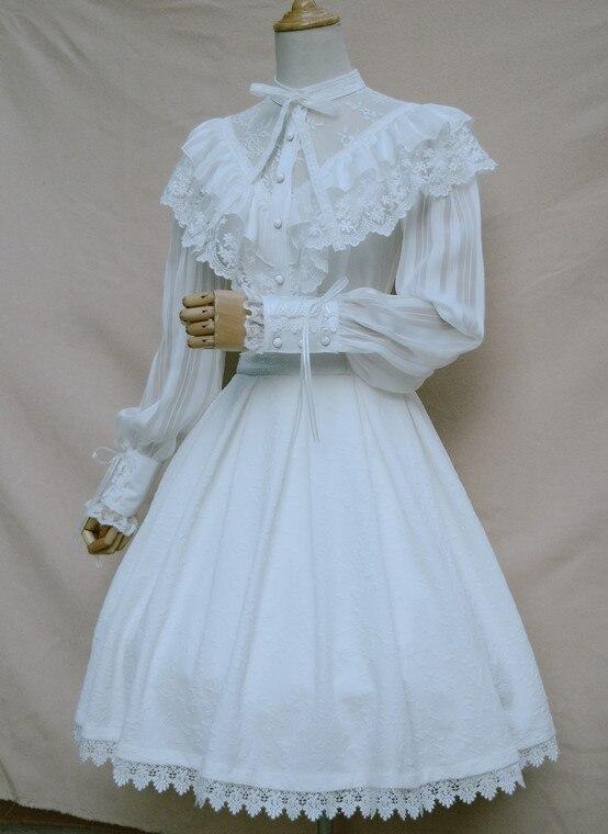 Chemisier en mousseline de soie Royal Vintage Illusion cou femmes Blouse gothique transparente à manches longues lanterne avec volants - 4