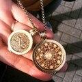 Vinnie design joyería de oro rosa collar colgante con 33mm rosario y 25mm infinito disco moneda