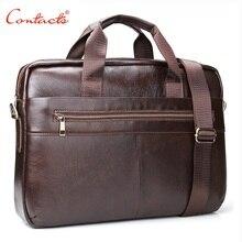 "CONTACT'S New Fashion Genuine Leather Men Cowhide Messenger Men Messenger Bags 14 ""Laptop Business Bag De Luxe Avocado Handbags"