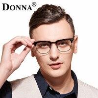 도나 TR90 유연한 프레임 남자 안경 광학 안경 나무 하프 프레임 남성 여성 독서 클리어 렌즈