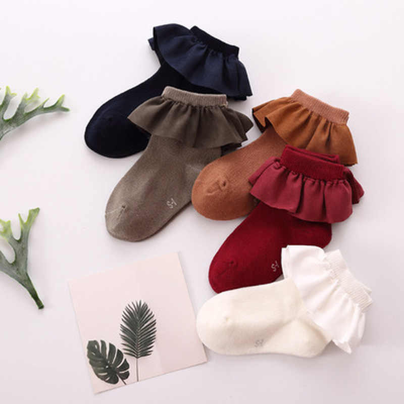 One Pairs Fashion Baby Girls Kids Faux Suede Lace Cotton Socks Princess Soft Trim Baby Toddler Short Socks High Quality