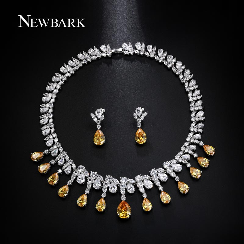 NEWBARK Luxury Jewelry Sets Classic White Gold Plated Yellow AAA+ CZ Parure Bijoux Femme Bridal Set Accessories