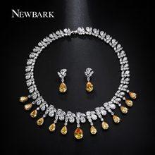 NEWBARK Silver Color Cubic Zirconia Necklace Earring Set Yellow Teardrop CZ Earring Pendant Neckalces Set Women