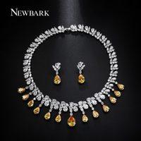 NEWBARK Luxury Jewelry Sets Classic White Gold Plated Yellow AAA CZ Parure Bijoux Femme Bridal Set