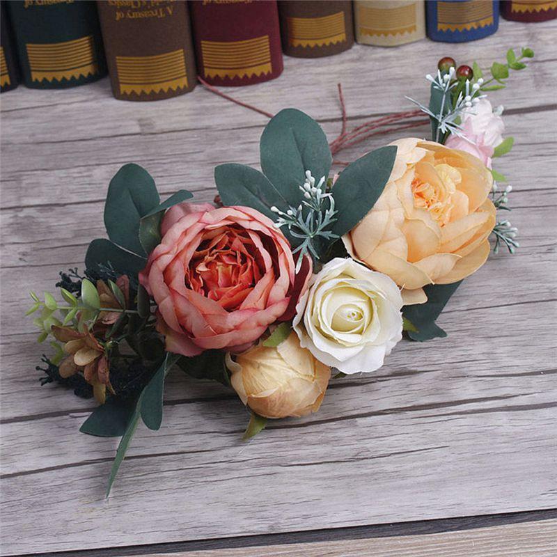 Blume Crown Frauen Mädchen Kopf Rose Blume Kranz Braut Haar Zubehör Hochzeit Stirnband Kid Partei Floral girlanden Einstellbar