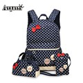 AEQUEEN 3PCS 2017 Children Cute Bow Dot Printing Backpack Bags For School Backpacks Kids Travel Bags Bookbag Free Shipping