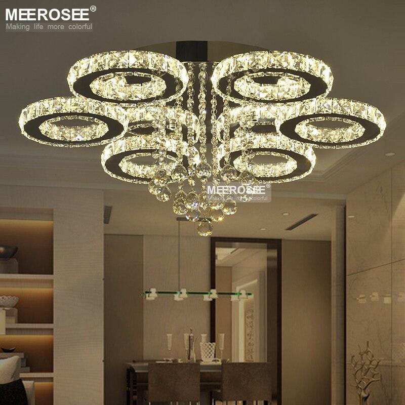 Honest Led Crystal Led Chandelier Crystal Stainless Steel Crystal Lights Brief Living Room Lamps Circle Lighting Including Bulb Ceiling Lights & Fans