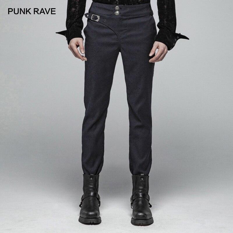 PUNK RAVE ผู้ชายสุภาพบุรุษ Punk Simple Dark Jacquard ทอกางเกง Gothic Party Prom Club Performance ปรับกางเกงผู้ชาย-ใน กางเกงสกินนี่ จาก เสื้อผ้าผู้ชาย บน   1
