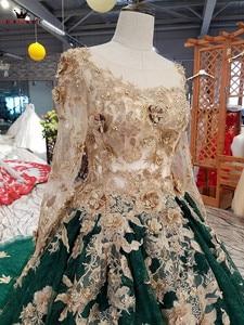 Image 5 - Vestido de baile manga longa tule flores miçangas verde luxo vestidos de noite 100% vestido de noite real 2020 festa kc71