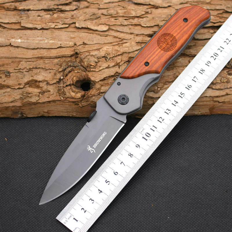 BROWNING Folding font b Knife b font Survival Knifes 440C Steel Blade Wood Handle Pocket Hunting