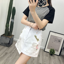 Womens Flower Embroidered Denim Cotton Summer Short Skirt A-line Hole Mini Skirts Embroidery Jean
