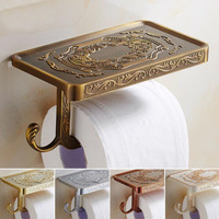 Wholesale And Retail Antique Carving Toilet Paper Roll Holder Paper Rack with Phone Shelf Wall Mounted Paper Holder And hook