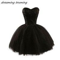 Vintage 1950's Black Lace Short Cocktail Dress 2019 Little Black Robe De Soriee Mini Ball Gowns Short Graduation Dresses