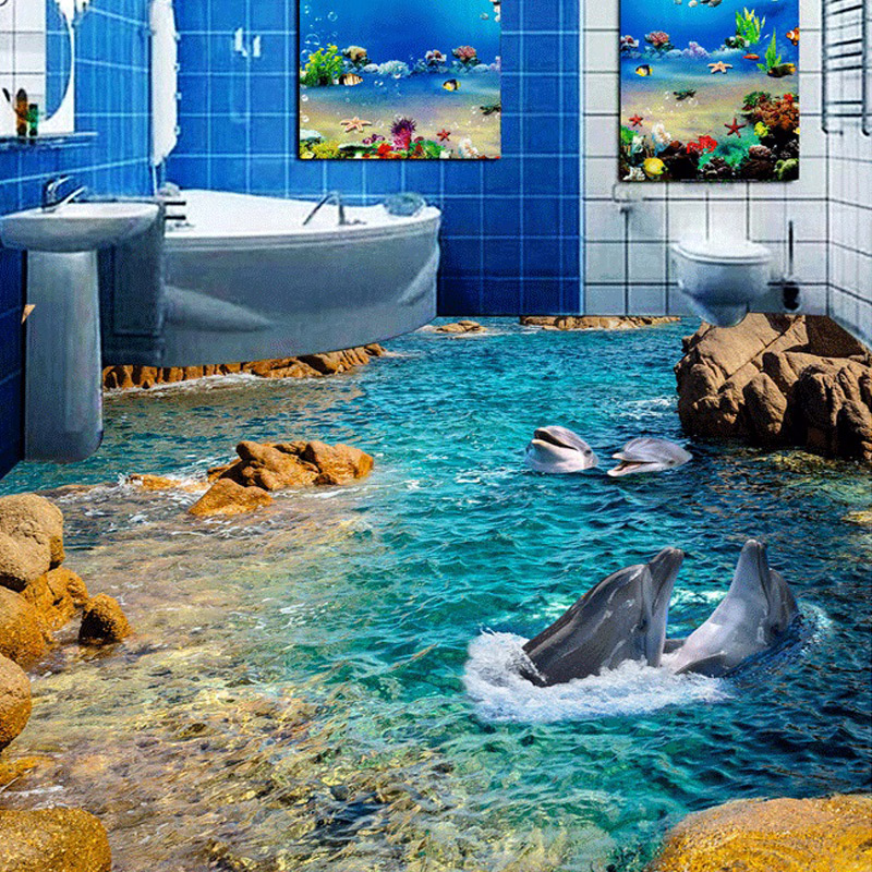 Modern Home Improvement Floor Wallpaper For The Wall Custom 3D Photo Dolphin Reef Murals Wall Paper Self-adhesive Material Paper