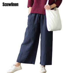 Scuwlinen 2017 women pants solid elastic waist 100 linen straight trousers for women loose casual all.jpg 250x250