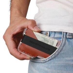 Image 5 - ZEEKER חדש עיצוב אלומיניום מתכת RFID חסימת אשראי בעל כרטיס אמיתי עור מינימליסטי כרטיס ארנק לגברים