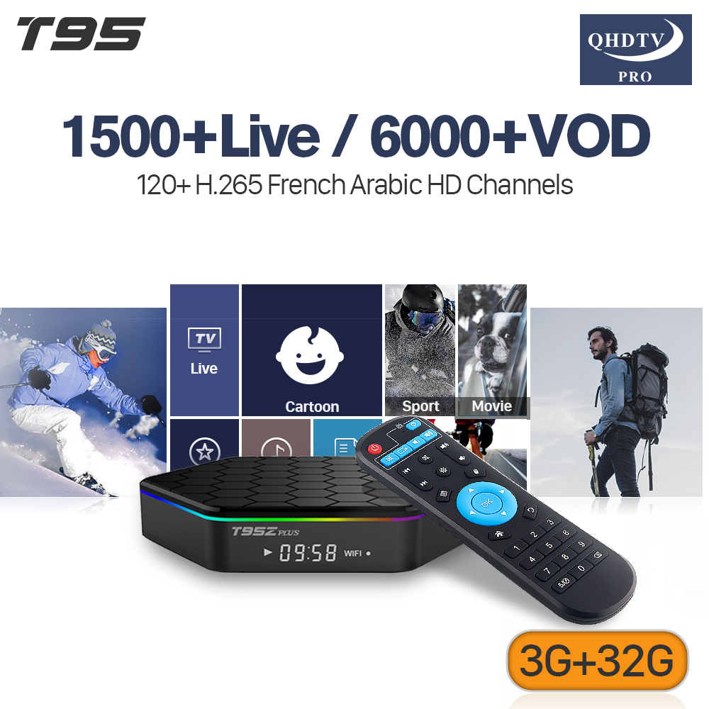 T95Z Plus IPTV Arabe Récepteur Andorid 7.1 TV BOX 3 gb 32 gb Amlogic S912 Octa Core Avec France Arabe IPTV Abonnement H.265