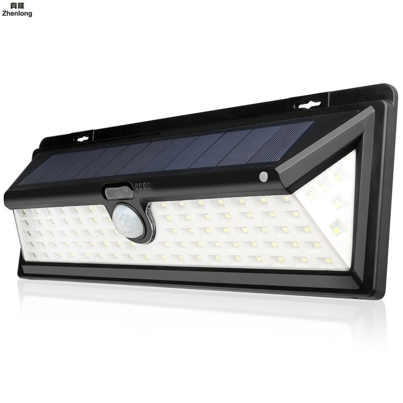 90 SMD 2835 Solar LED Outdoor Garden Lamp Decoration PIR Motion Sensor Night Security Three sided Wall Light Waterproof Solar