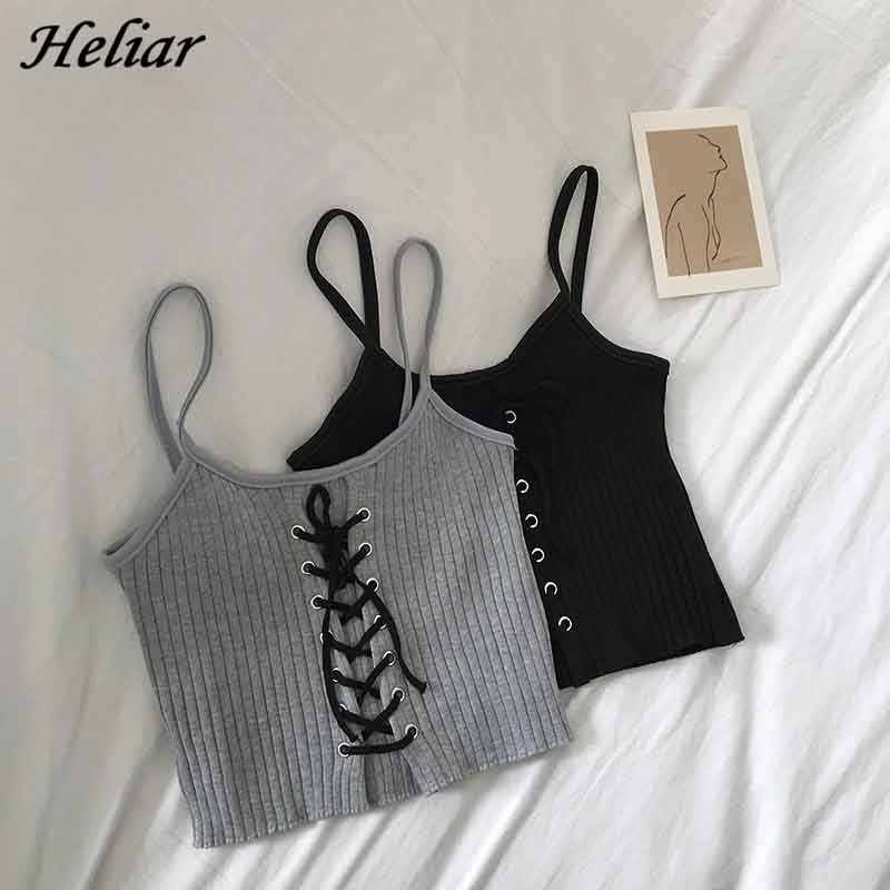 HELIAR Women Halter Tank Tops 뜨개질 섹시한 스파게티 Hot Camis 여성 솔리드 자르기 Top Feminino Drawstring 2020 Summer Tops Women