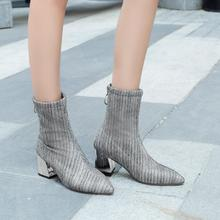 2018 autumn and winter new women's boots pointed thick with