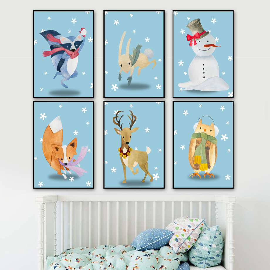 Watercolor Raccoon Rabbit Snowman Fox Deer Owl Nordic Posters And Prints Wall Art Canvas Painting Pictures Kids Room Decor