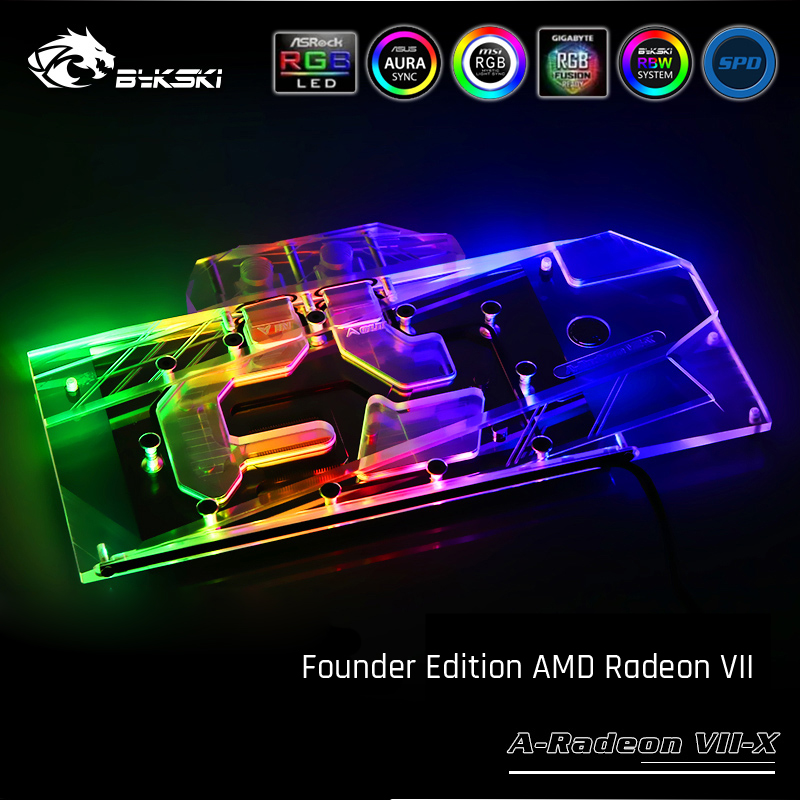 Bykski A-Radeon VII-X, Full Cover Graphics Card Water Cooling Block For Founder Edition AMD Radeon VII