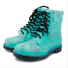 2016 adult femal rain boots water shoes woman boots fashion lace up flat  ladies shoes womens shoes non-slip rubber hiking boots