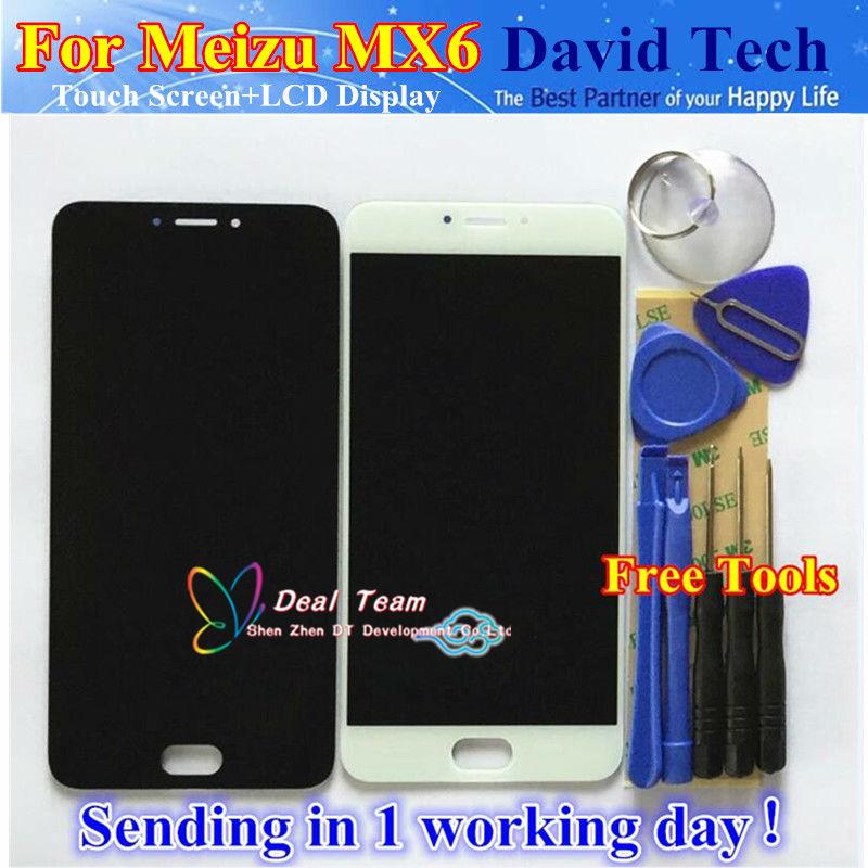 Prix pour Haute qualité nouveau lcd display + digitizer écran tactile en verre pièces de rechange pour meizu mx6 téléphone portable noir blanc livraison gratuite