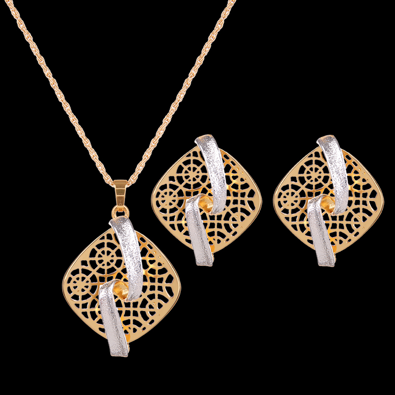 QCOOLJLY Party 5 Designs Women jewelry Gold Color Women's/Lady's Link Chain Necklace + Earrings Set Shiny Jewelry Sets Gifts