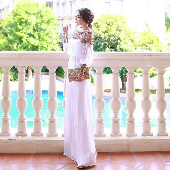 Elegant runway white dress