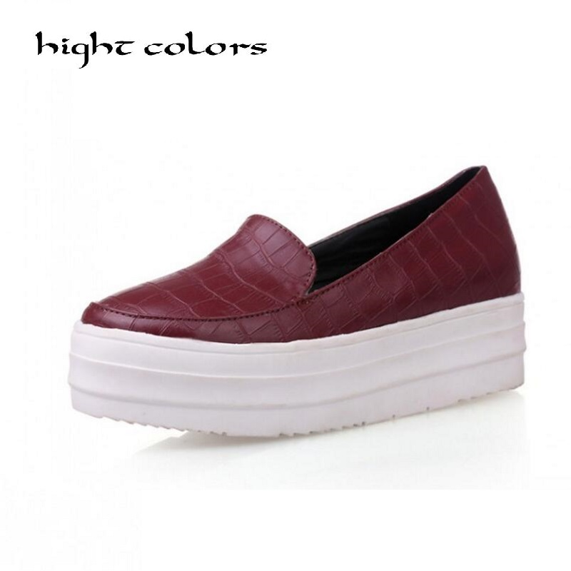 34~43 Women Flat Platform Loafers Shoes 2018 Brand Women Leather Platform Shoes For Ladies New Fashion Flats Casual Shoes Woman summer women casual shoes breathable mother shoes women flat platform soft comfortable braided shoes light loafers for woman